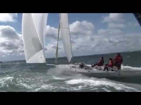 J80 in Spi Ouest France 2008 with spinnaker in big wind !