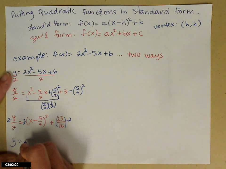 Quadratic Function In Standard Form Youtube