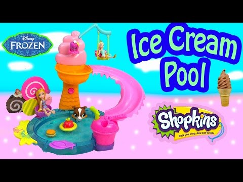 Thumbnail: Polly Pocket Color Changer Doll Water Pool Playset Queen Elsa Disney Frozen Shopkins Season 3 Toy