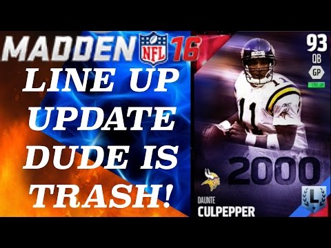 LINE UP UPDATE! DAUNTE CULPEPPER SUCKS! - Madden 16 Ultimate Team | MUT 16 Gameplay