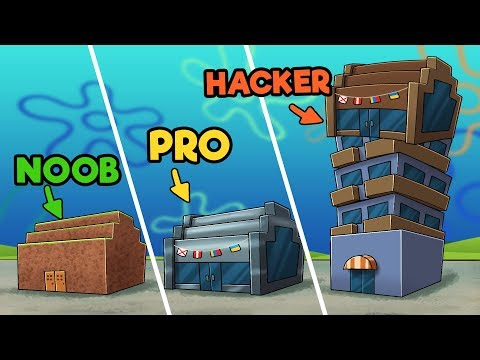Minecraft - KRUSTY KRAB CHALLENGE! (NOOB vs PRO vs HACKER)