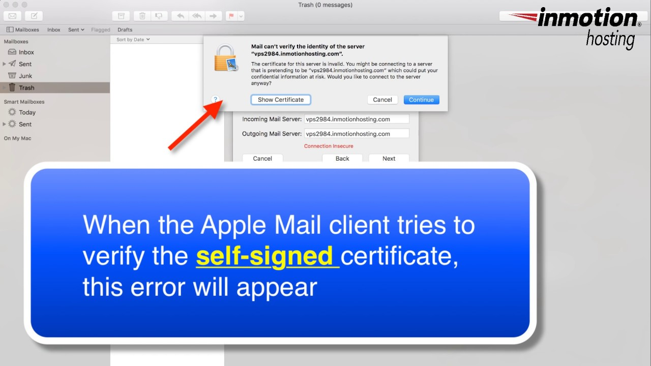 How to fix the Can't verify the server error on the Mac Mail Client