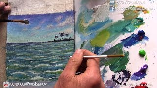 Рисуем остров в изумрудном океане - морской пейзаж акрилом на холсте. Урок рисования - Рыбаков.