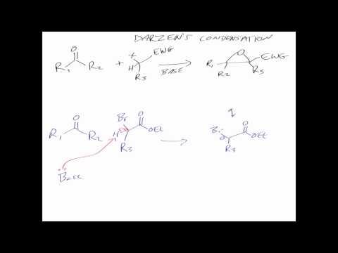 Darzen's condensation:  Reaction mechanism chemistry tutorial.