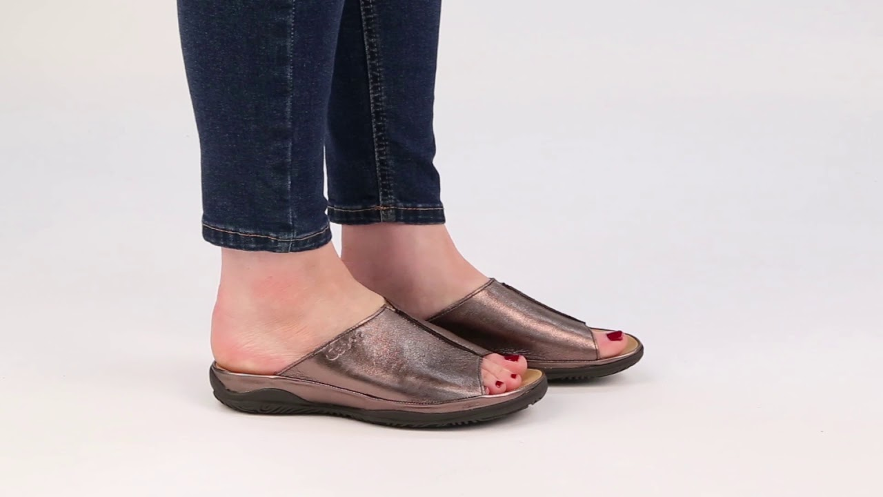 0d8964c27 Gabor Idol Antique Silver Leather Wide Fit Casual Womens Mules - YouTube