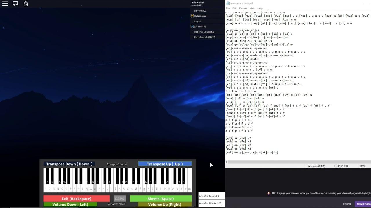Interstellar Played On Keyboard Virtual Piano Visualization