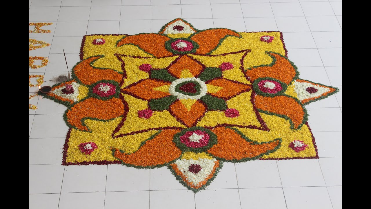 happy onam rangoli designs with flower petals youtube