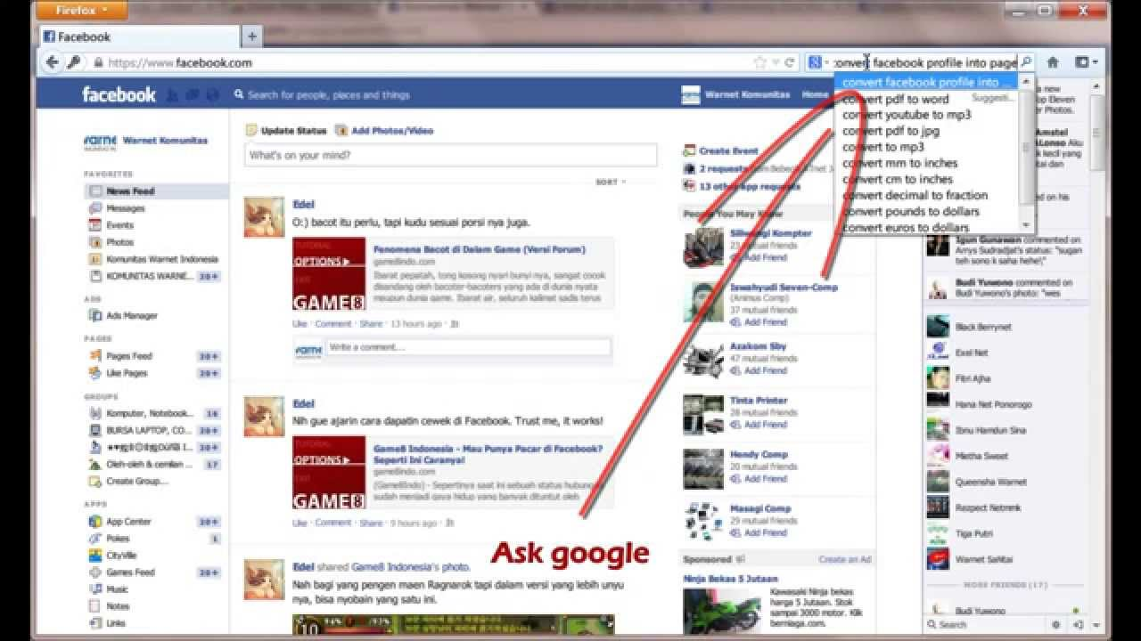 how to turn facebook profile into page