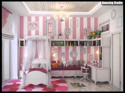 rosa wei e streifen wand m dchen schlafzimmer youtube. Black Bedroom Furniture Sets. Home Design Ideas