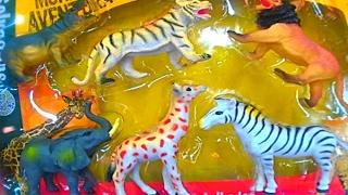 トイズ 動物 野生 ジャングル アフリカ ライオン 虎 象 サイ 人形 野生...