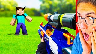 Reacting To INSANE NERF IN MINECRAFT ANIMATION!