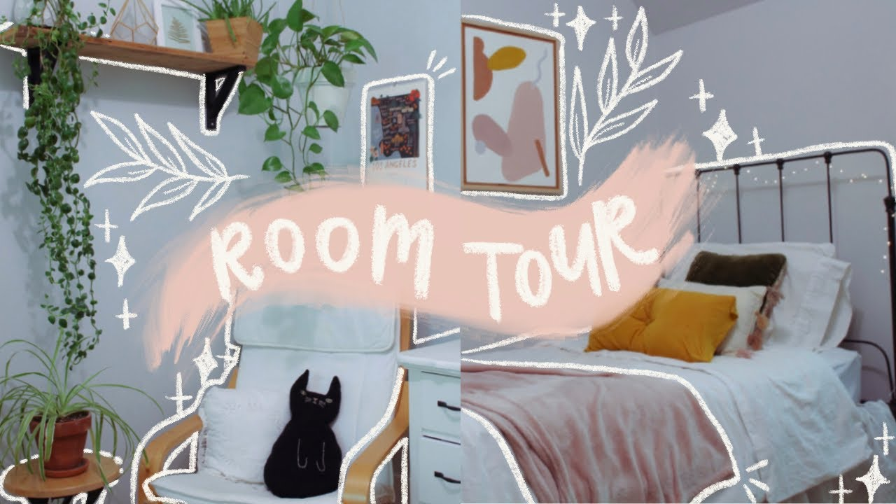 ROOM TOUR! // thrifted + boho aesthetic with lots of plants:)