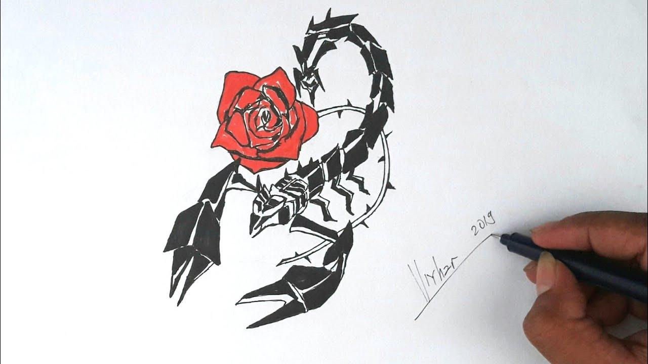 Gambar Kalajengking Dan Mawar Untuk Desain Tatto Tribal Youtube