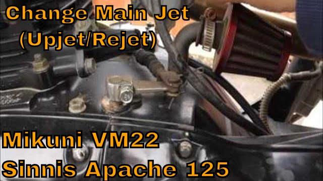 How To Change Main Jet (Upjet/Rejet) Mikuni VM22 Carb - Sinnis Apache 125