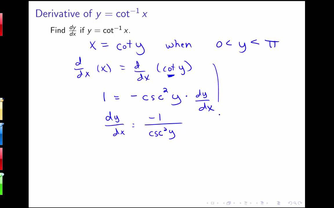 Section 35 Implicit Differentiation Derivatives Of Inverse Trig