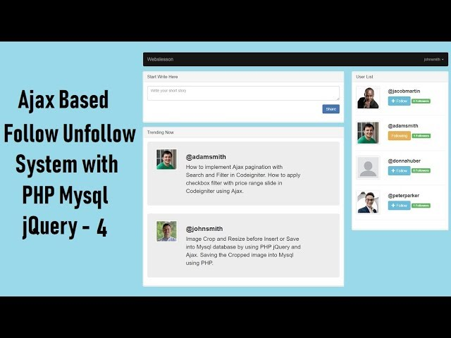Ajax Based Follow Unfollow System with PHP Mysql jquery - 4