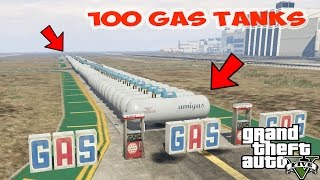 100 Gas Tanks At Once ] Biggest Explosion In GTA V??