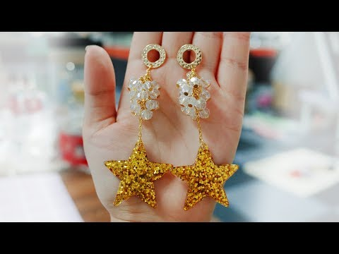 DoreenBeads Jewelry Making Tutorial - How to Make Sparkly Yellow Resin Star Glass Beads Earrings