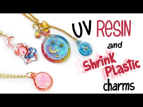 Charms and open bezels made with shrink plastic and UV resin