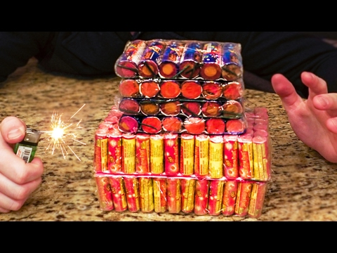 500 FIREWORKS VS FIRE EXPERIMENT!!! (Huge Explosion)