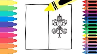 How to Draw a Vatican City Flag - Coloring Pages for kids - Drawing a Vatican Flag | Tanimated Toys