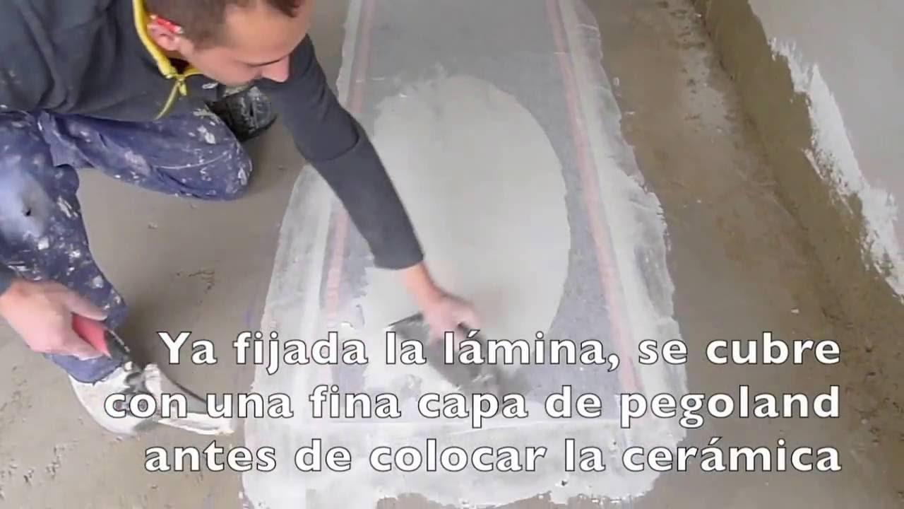 Instalaci n suelo radiante el ctrico paso 2 cubrir el folio radiante con una capa de pegoland - Folio radiante electrico ...