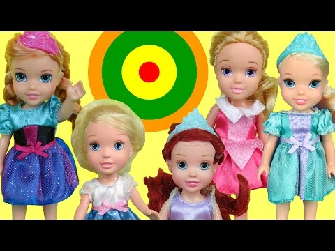 Thumbnail: Bullseye Target Game! ELSA and ANNA toddlers & other kids PLAY & Win prizes! Who wins?
