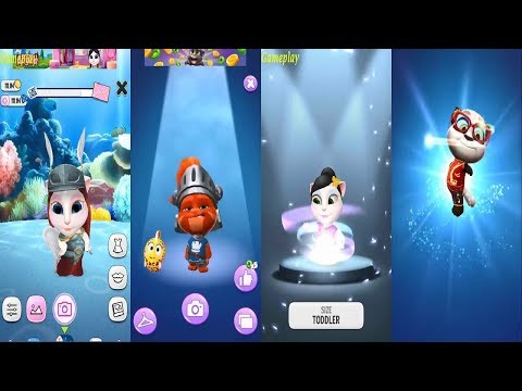 My Talking Tom 2 VS My Talking Angela New Update - 2 TOM Vs 2 ANGELA Gameplay make for kid