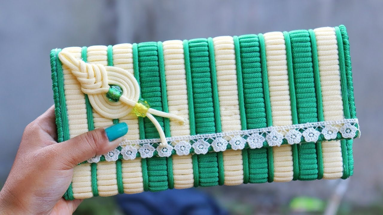 How To Make Macrame Ladies Hand Bag Or Purse Using Plastic