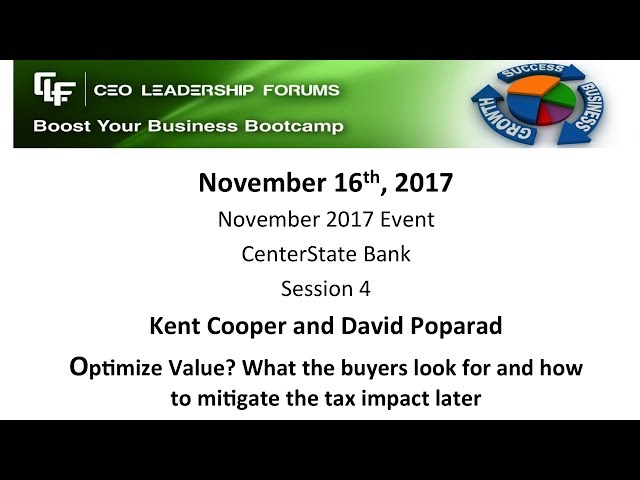 2017 11 16 CEO Leadership Forums - Session 04 Cooper & Poparad