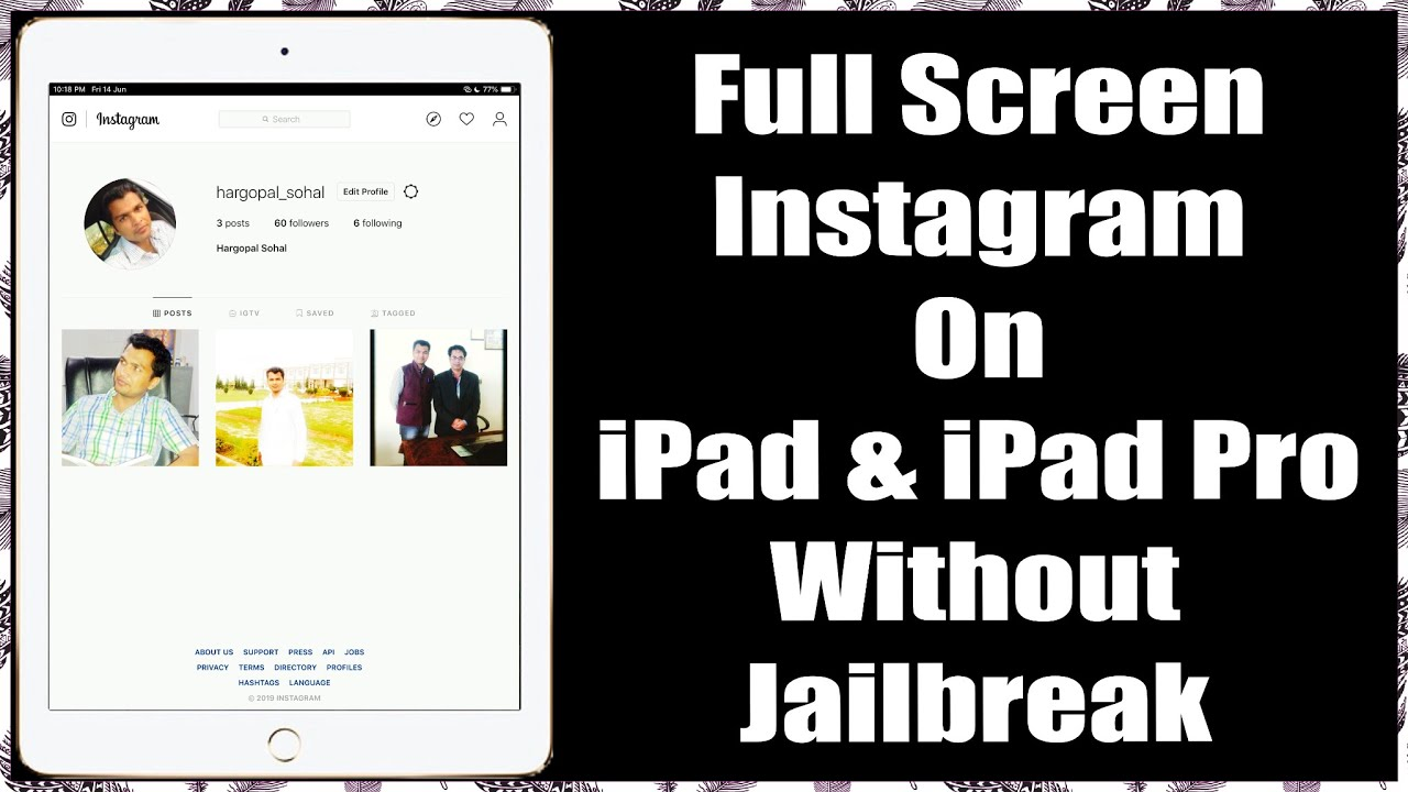 How to get Proper and full screen Instagram on iPad Pro | official | no  jailbreak | no cydia