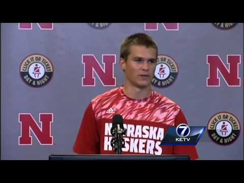 Nebraska places Kicker Drew Brown addresses the media after 36-28 win over Southern Miss.