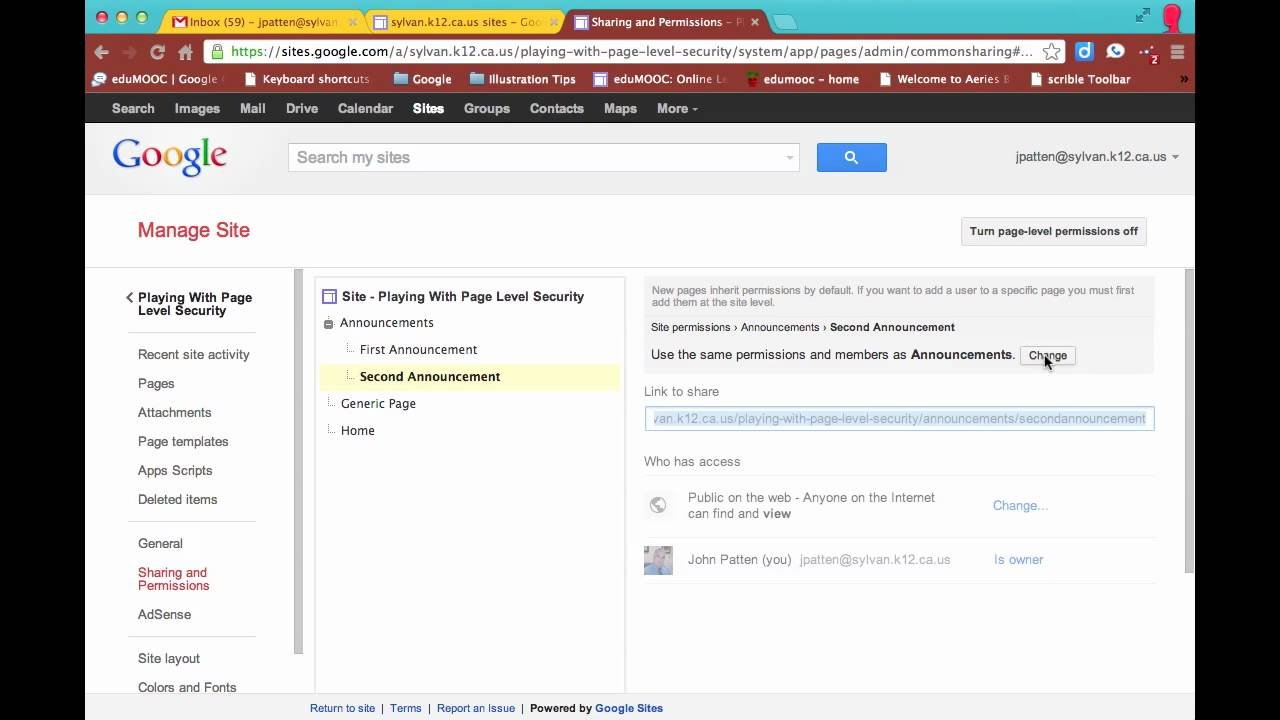 Google Sites   How to Create Private Pages on School Web Site