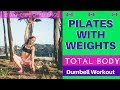 Core Challenge -Total Body Pilates with Weights Workout -Legs Abs Arms Glutes- Day 16
