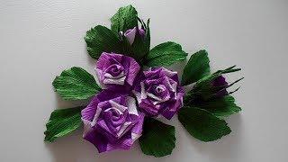 розы трехцветные из гофрированной бумаги, МК