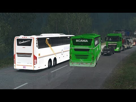 Scania Bus Amazing Drive In Heavy Rain And Slippery Road | Games With Bus Mod