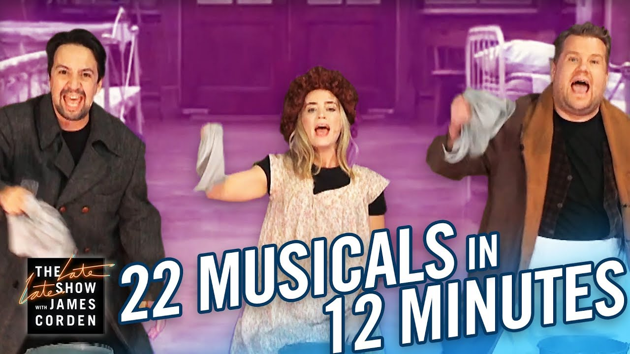 Lin-Manuel Miranda, Emily Blunt, and James Corden Perform 22 Musicals In 12 Minutes