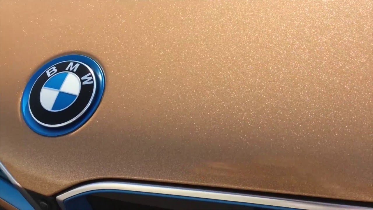 BMW I8 Wrapped In Gold Amber Diamond Vinyl