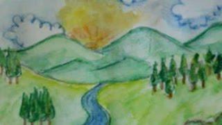 cara menggambar pemandangan alam dengan pensil warna
