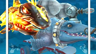 mr snappy gameplay with laser jetpack vortex etc mr snappy vs megalodon in hungry shark evolution