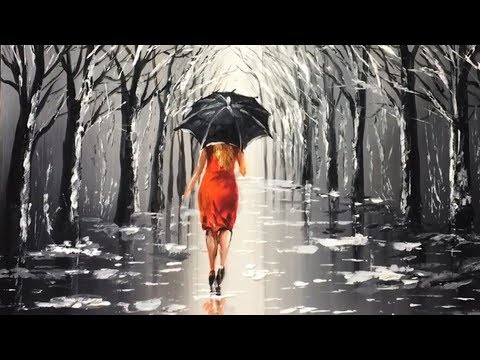 Lady with Black Umbrella Acrylic Painting