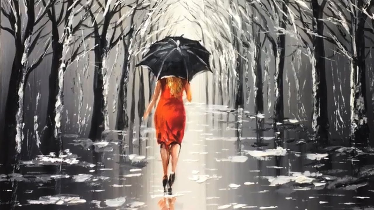 Lady With Black Umbrella Acrylic Painting Youtube