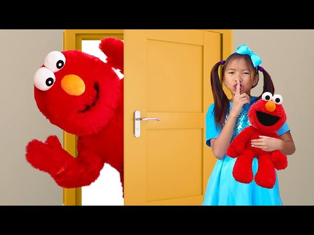 Wendy Pretend Play Hide and Seek with Giant Elmo Toy for Kids