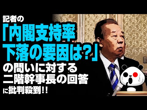 2020年2月19日 記者の「内閣支持率下落の要因は?」の問いに対する二階幹事長の回答が話題