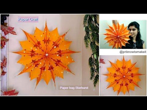 How to make paper bag starburst | paper bag star | Christmas decoration idea,