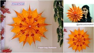 How to make paper bag starburst | paper bag star | Christmas decoration idea,