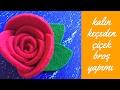Kalın keçeden çok şık keçe çiçek broş yapımı
