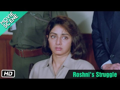 Roshni's Struggle - Movie Scene - Sridevi, Soni Razdan, Anupam Kher, Sanjay Dutt