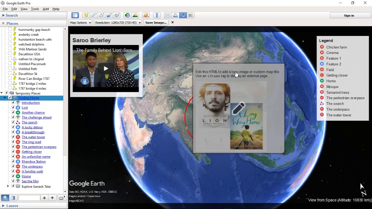 Google Earth Pro 7 3 1 4507 with HTML area with iframe, legend annotations