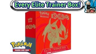 opening every elite trainer box made xy evolutions charizard pokemon tcg unboxing